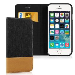 Mobil Skal Plånbok för Apple iPhone 5 / 5s / SE TPU Mobilskal Je Svart