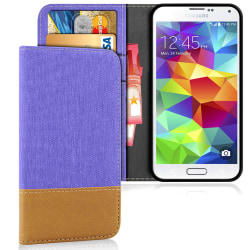 Mobil Skal Plånbok för Samsung Galaxy S5 Magnet TPU Mobilskal Mo Lila