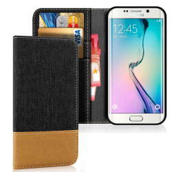 Mobil Skal Plånbok för Samsung Galaxy S6 Magnet TPU Mobilskydd S Svart
