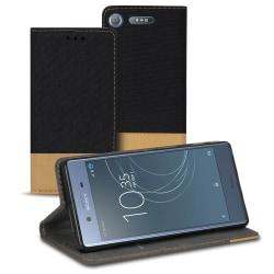 Mobil Skal Plånbok för Sony Xperia XZ1 Skydd TPU Mobilskal Telef Svart