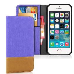 Mobilfordral Jeans för Apple iPhone 5 / 5s / SE Konstläder Full  Lila