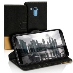 Mobilfordral Jeans för HTC U11+ Plus Skydd Skal Konstläder Telef Svart