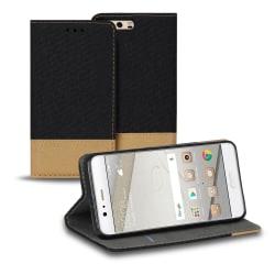 Mobilfordral Jeans för Huawei P10 Magnet Skal Mobilskydd Konstlä Svart