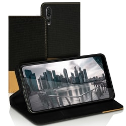 Mobilfordral Jeans för Huawei P20 Pro TPU Denim Skydd Magnet Stö Svart