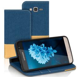 Mobilfordral Jeans för Samsung Galaxy J3 (2016) Mobilskal Korthå Blå