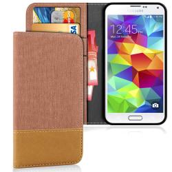 Mobilfordral Jeans för Samsung Galaxy S5 Mobilskydd Denim Mobils Brun