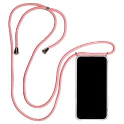 Mobilskal med Halsrem för Huawei P30 Kedja Gummi Skydd Mobilskyd Rosa
