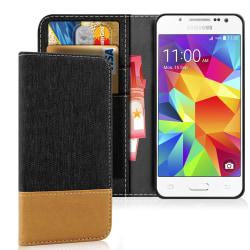 Mobilskal med Kortficka för Samsung Galaxy J5 TPU Telefon Korthå Svart
