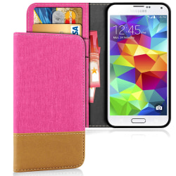 Mobilskal med Kortficka för Samsung Galaxy S5 Denim Stötsäker TP Rosa