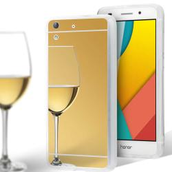 Mobilskal Spegel för Huawei Y6II Mobilskydd Mirror Tunnt TPU Tel Guld