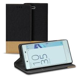 Plånboks Fodral Skal för Sony Xperia XZ1 Compact TPU Mobilskal D Svart