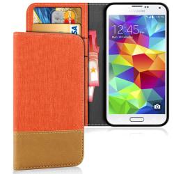Samsung Galaxy S5 Mobil TPU Skydd Telefon Mobilskydd Skal Denim  Orange