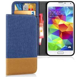 Samsung Galaxy S5 Telefon Konstläder Jeans Denim Mobilskydd Stöt Blå