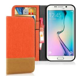 Samsung Galaxy S6 Mobilskal TPU Mobil Denim Telefon Magnet Mobil Orange