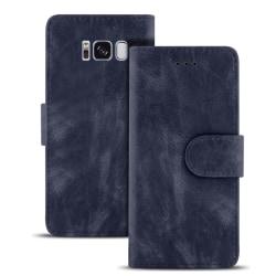 Samsung Galaxy S8 Magnetlås Konstläder Kortfack Vintage Flott Pl Mörkblå