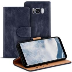 Samsung Galaxy S8 Plus Kortfack Magnetlås Vintage Konstläder Plå Mörkblå