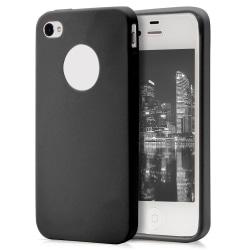 Skal till Apple iPhone 4 / 4s Svart TPU Skydd Fodral Svart