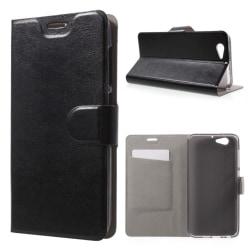 Skal till HTC One A9s Läder Korthållare Skydd Fodral Plånbok Sva Svart