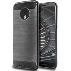 Skal till Motorola Moto G6 Plus Grå Kolfiber Armor Fodral Skydd grå