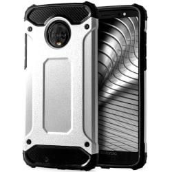 Skal till Motorola Moto G6 Plus Silver Armor Skydd Fodral Hårt Silver