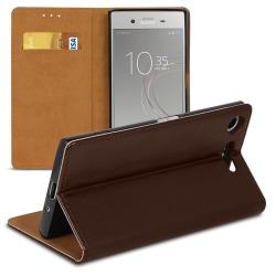 Sony Xperia XZ1 Kortfack Microfiber Plånbok Magnetlås För kredit Brun