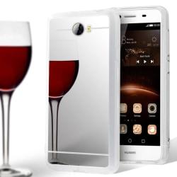 Spegel Skal för Huawei Y5II Glänsande Silikon Skydd Stötsäker Mo Silver