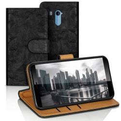 Vintage bokväska med kortfack för HTC U11+ Plus Magnetlås Flott  Svart