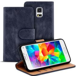 Vintage bokväska med kortfack för Samsung Galaxy S5 Mini TPU Plå Mörkblå