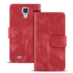 Vintage Microfiber fodral för Samsung Galaxy S4 Plånbok Flott Ko Röd