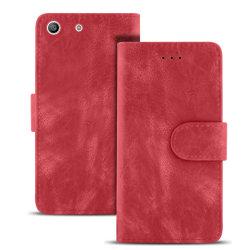 Vintage Microfiber fodral för Sony Xperia M5 Kortfack Magnetlås  Röd