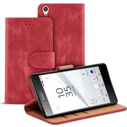 Vintage Microfiber fodral för Sony Xperia Z5 Premium Konstläder  Röd