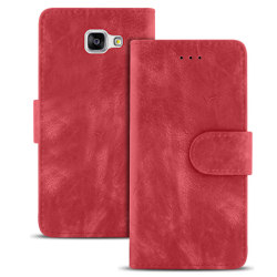 Vintage plånbok för Samsung Galaxy A5 (2016) A510 Konstläder Flo Röd