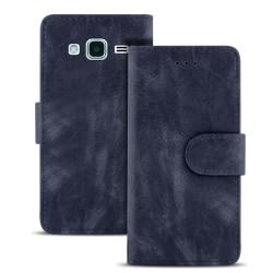 Vintage plånbok för Samsung Galaxy J3 (2016) Konstläder Kortfack Mörkblå