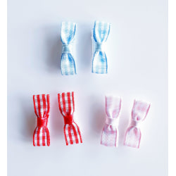 3 par rutiga kardborrerosetter till bebis flerfärgad