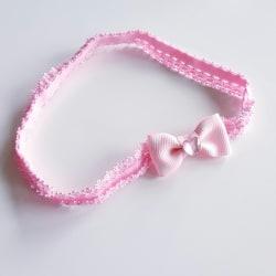 Babyhårband med rosett och glashjärta rosa