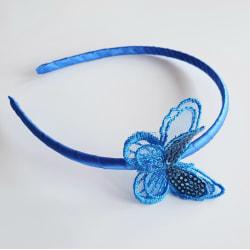 Diadem med fjäril  blå