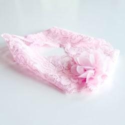 Hårband till bebis i spetstyg med blomma  rosa