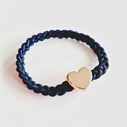 Hårsnodd eller armband med hjärta i guldfärg svart