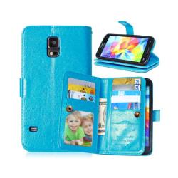 Dubbelflip Flexi 9-kort Samsung Galaxy S5 (SM-G900F) Ljusblå
