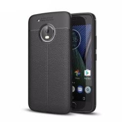 Läder mönstrat TPU skal Motorola Moto G5 Plus (XT1683) Svart