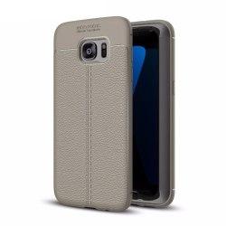 Läder mönstrat TPU skal Samsung Galaxy S7 Edge (SM-G935F) Grå