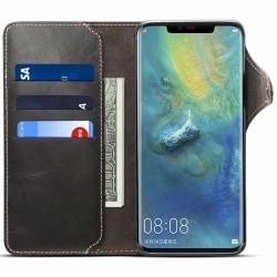 Mobilplånbok 3-kort äkta läder Huawei Mate 20 Pro (LYA-L29) Svart