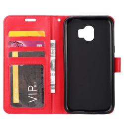 Mobilplånbok 3-kort Samsung Galaxy J4 Plus (SM-J415F) Röd