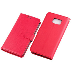 Mobilplånbok 3-kort Samsung Galaxy S6 Edge Plus (SM-G928F) Röd