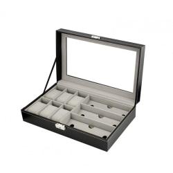 Klocklåda / Klockbox för 6 klockor 3 glasögon Black
