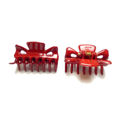 Hårklämma Röd 2-pack