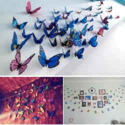 12-Pack Fjärilar med 3D Effekt - Självhäftande