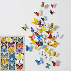 19-Pack Fjärilar med 3D Effekt - Självhäftande