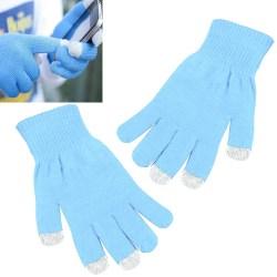 2-Par - Touchvantar / Fingervantar - Vantar med Touch - Ljusblå