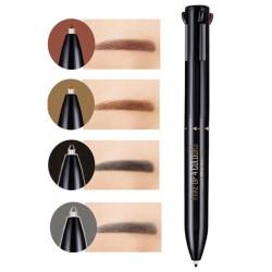 4-i-1 Ögonbrynspenna - Ögonbryn - Svart, mörkbrun, kastanj, grå